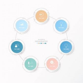 Infografia de círculos para o conceito de negócio atual. 7 opções, peças ou processos.