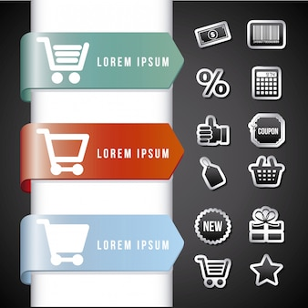 Infografia de compras sobre fundo preto