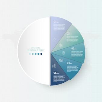 Infografia de cor e círculos azul para o conceito de negócio.
