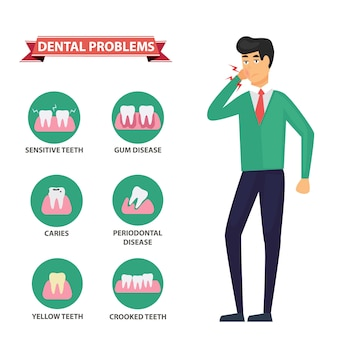 Infografia de cuidados de saúde problema odontológico