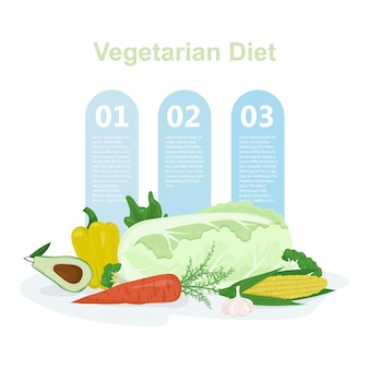 Infografia de dieta vegana e vegetariana. banner da web