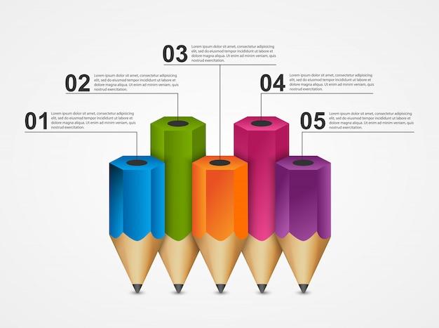 Infografia de educação com lápis