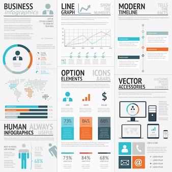 Infografia de elemento de vetor de visualização de dados de gráficos empresariais