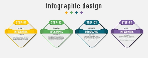 Infografia de elemento, diagrama gráfico de negócios, linha do tempo com 4 etapas