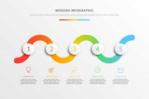 Infografia de fluxo de trabalho com elementos redondos 3d realistas e ícones de marketing de linha plana