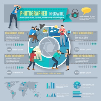 Infografia de fotógrafo conjunto com pessoas com câmeras fotográficas e gráficos