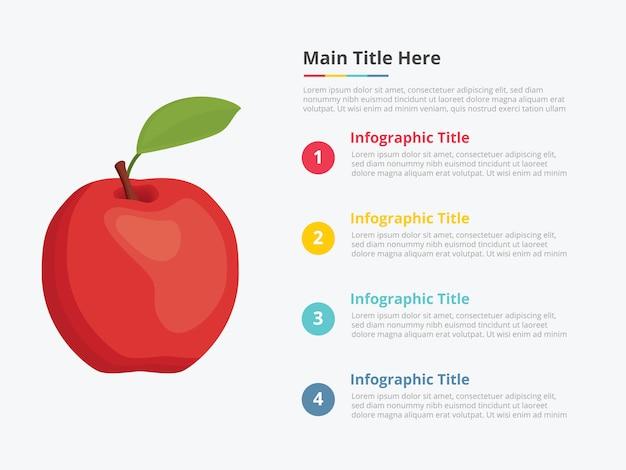 Infografia de fruta de maçã com alguma descrição de título de ponto