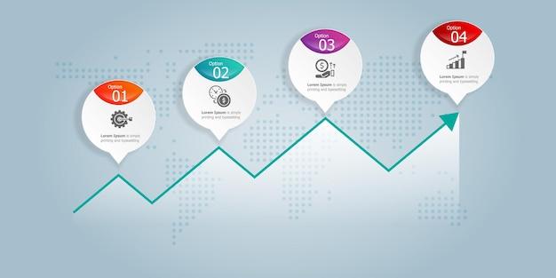 Infografia de gráfico de crescimento horizontal abstrato 4 etapas com modelo de ícone para negócios e apresentação de fundo de ilustração vetorial