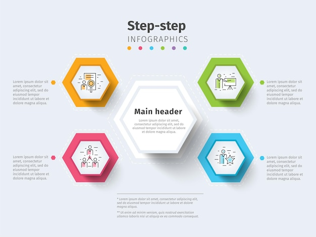Infografia de gráfico de processo de 4 etapas de negócios com círculos de etapa elementos gráficos corporativos brilhantes com