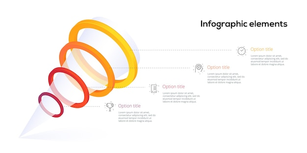 Infografia de gráfico de processo de etapa 4 da pirâmide com círculos de opção. elementos de hierarquia de fluxo de trabalho de negócios de funil. modelo de slide de apresentação da empresa. projeto de layout gráfico de informação vetorial moderna.