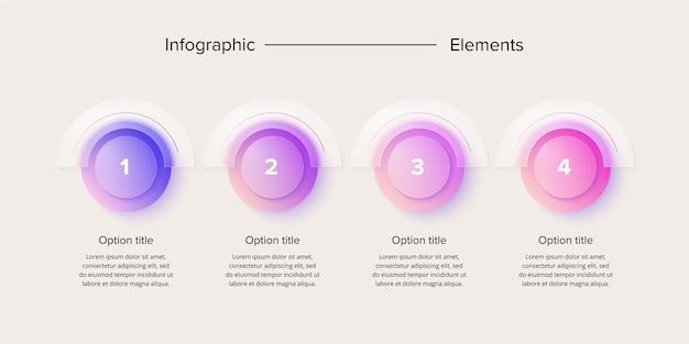Infografia de gráfico de processo de negócios com 4 círculos de etapa. elementos gráficos de fluxo de trabalho corporativo circular. diapositivo de apresentação do fluxograma da empresa. gráfico de informação vetorial no design de glassmorphism.