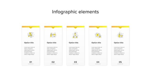Infografia de gráfico de processo de negócios com 4 quadrados de etapa.