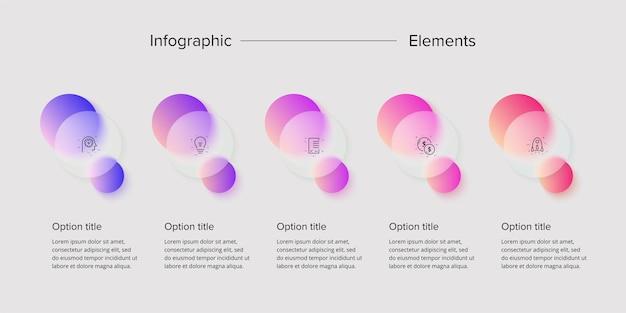 Infografia de gráfico de processo de negócios com elementos de círculo de 5 etapas