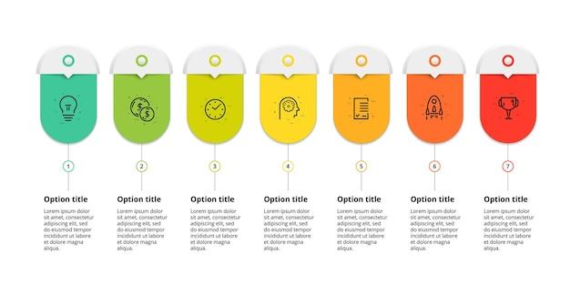 Infografia de gráfico de processo de negócios com gráfico de fluxo de trabalho corporativo circular de 7 círculos de etapas