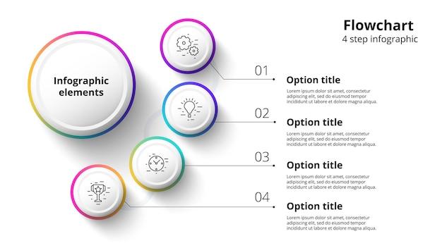 Infografia de gráfico de processo de negócios com segmentos de 4 etapas elemento de infográfico de linha do tempo corporativo circular