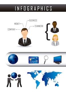 Infografia de ilustração em vetor negócios estilo vintage