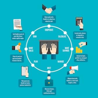 Infografia de mãos de negócios