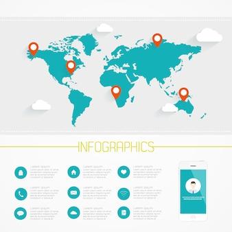 Infografia de mapa do mundo. vector eps10.