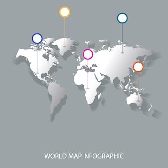 Infografia de mapa mundo com bandeira de marcas de ponteiro conceito de comunicação conceito de mapa do mundo de negócios de países