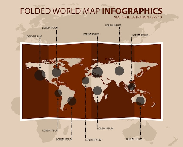 Infografia de mapa mundo vintage dobrado. ilustração vetorial
