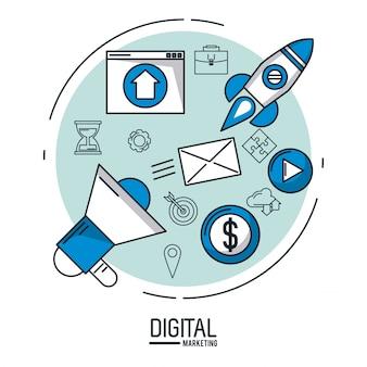 Infografia de marketing digital e publicidade sobre fundo branco ilustração vetorial