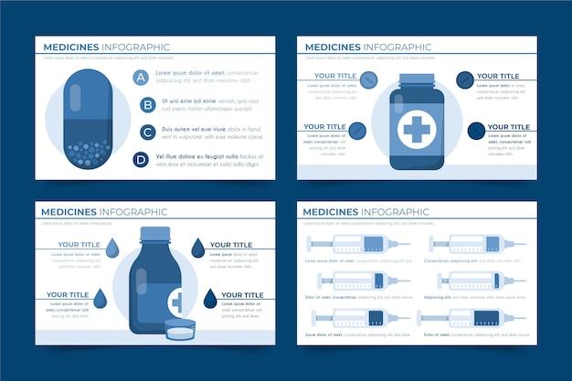 Infografia de medicamentos em design plano