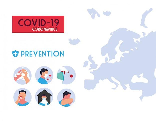 Infografia de métodos de prevenção de infecções por coronavírus