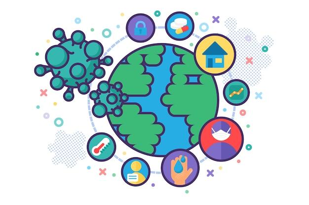 Infografia de métodos de prevenção de vírus corona, faixa de sinais de pandemia global: ficar em casa, quarentena, recomendações de higiene, símbolos de desinfecção. ilustração em vetor plana design de pôster de segurança médica