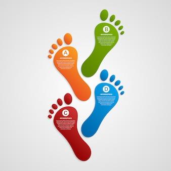 Infografia de modelo de design moderno de pé.