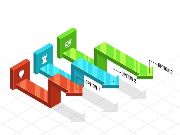 Infografia de negócios 3d com três (3) etapas.