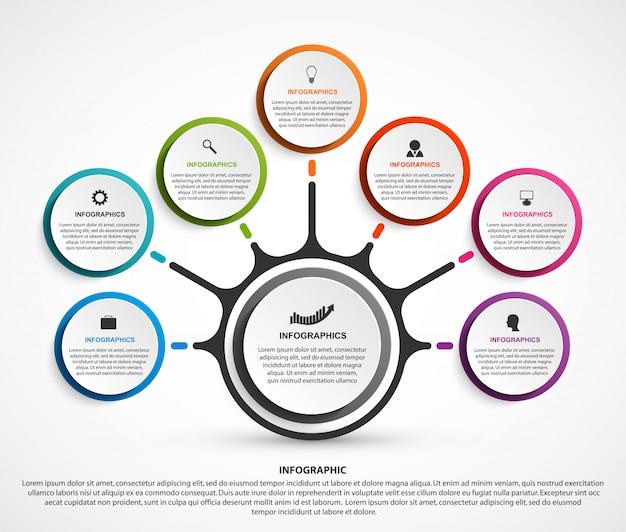 Infografia de negócios abstrata com sete opções