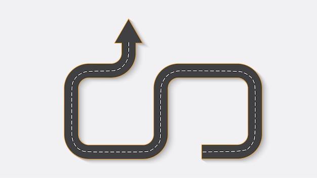 Infografia de negócios abstratos na forma de uma estrada automóvel com marcações rodoviárias. eps 10.