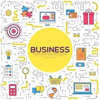 Infografia de negócios circunda as linhas finas do conceito padrão. ícones de aplicativos móveis e da web.