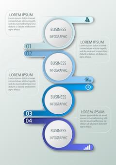 Infografia de negócios com 4 etapas, números opções.