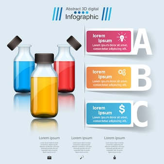 Infografia de negócios com garrafas de medicamentos