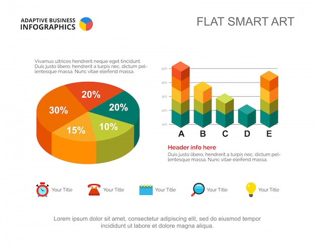 Infografia de negócios com gráfico de pizza e gráfico de barras. modelo de slide de apresentação editável