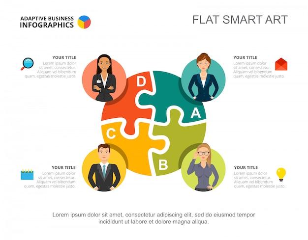 Infografia de negócios com o ícone de gráfico e equipe de quebra-cabeças.