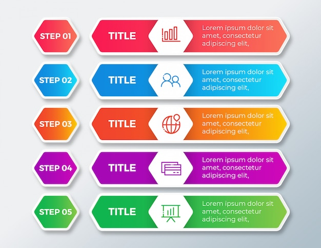 Infografia de negócios com opções de etapas