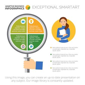 Infografia de negócios com quatro elementos