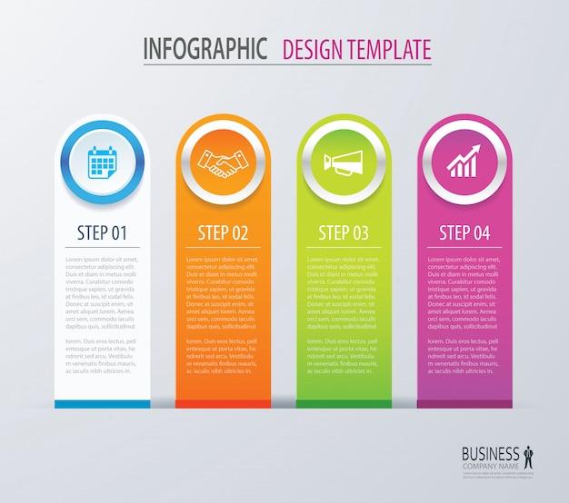 Infografia de negócios com quatro opções de número de etapas.
