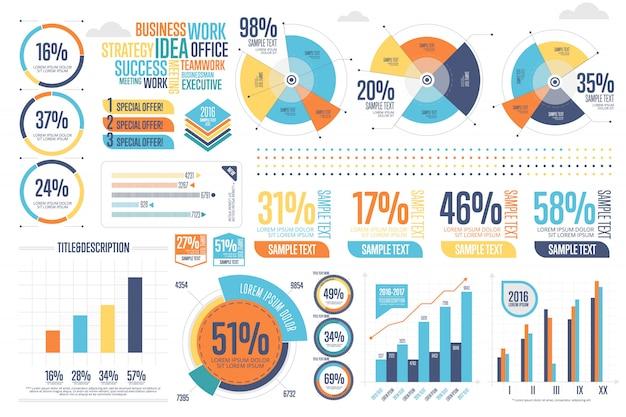 Infografia de negócios conjunto com diagrama diferente
