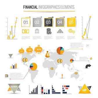 Infografia de negócios de financiamento de dinheiro com ícones financeiros e mapa do mundo na ilustração vetorial de fundo