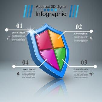 Infografia de negócios de proteção. ícone de marketing.