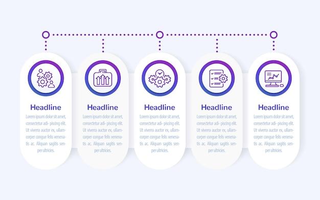 Infografia de negócios, design de banner com ícones de linha