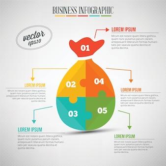 Infografia de negócios, enigma de uma bolsa de dinheiro