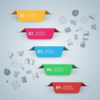 Infografia de negócios, ilustração vetorial estilo origami.