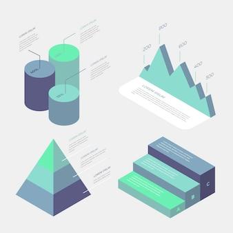 Infografia de negócios isométrica gradiente azul design