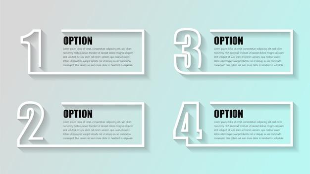 Infografia de negócios. linha do tempo com 4 opções.