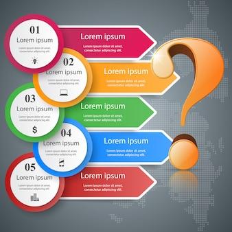 Infografia de negócios. ponto de interrogação.