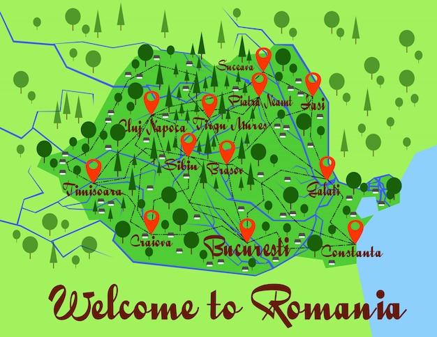 Infografia de país do mapa de roménia